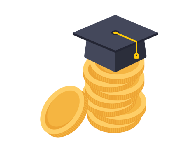 black graduation cap sitting on top of a money coin