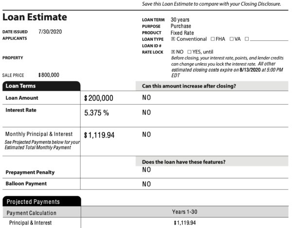 Loan Estimate snapshot