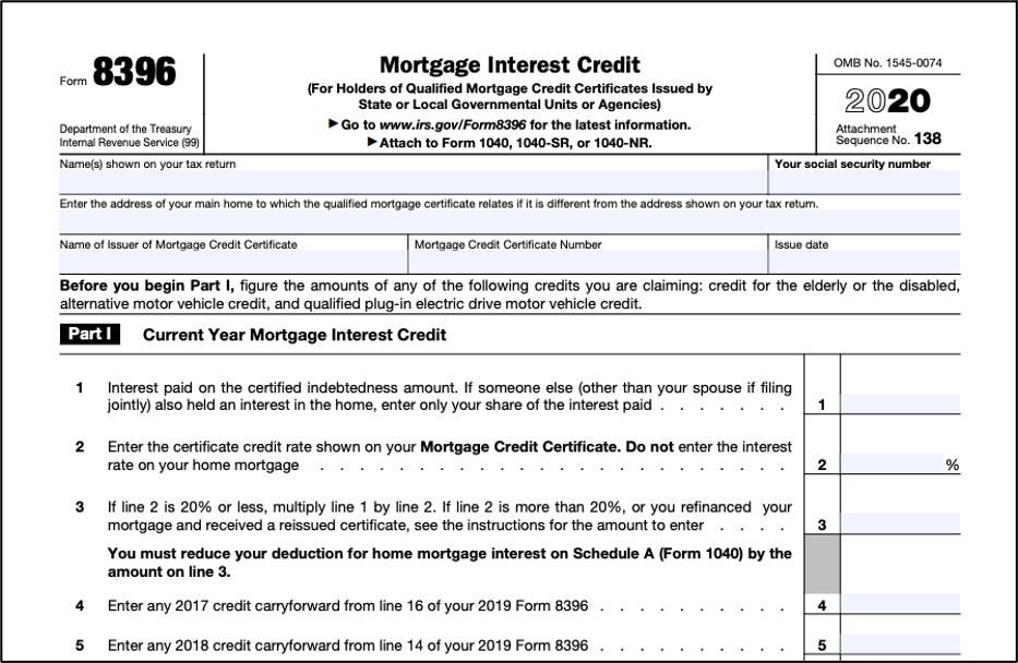 credit mortgage certificate irs form