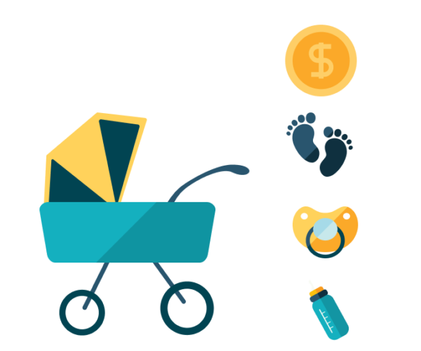 image of baby stroller, money symbol, a pacifier, and baby footprints