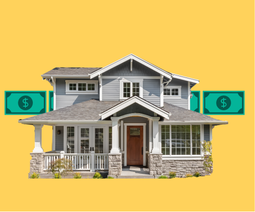image of large house and stacks of money