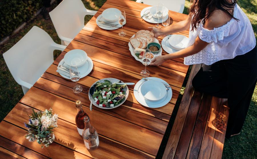 Add an outdoor dining set